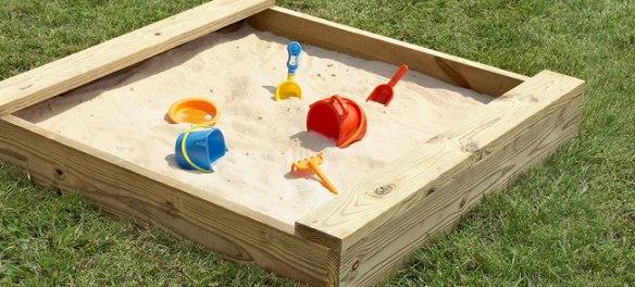 sandbox, empty sandbox, kids toys in sandbox