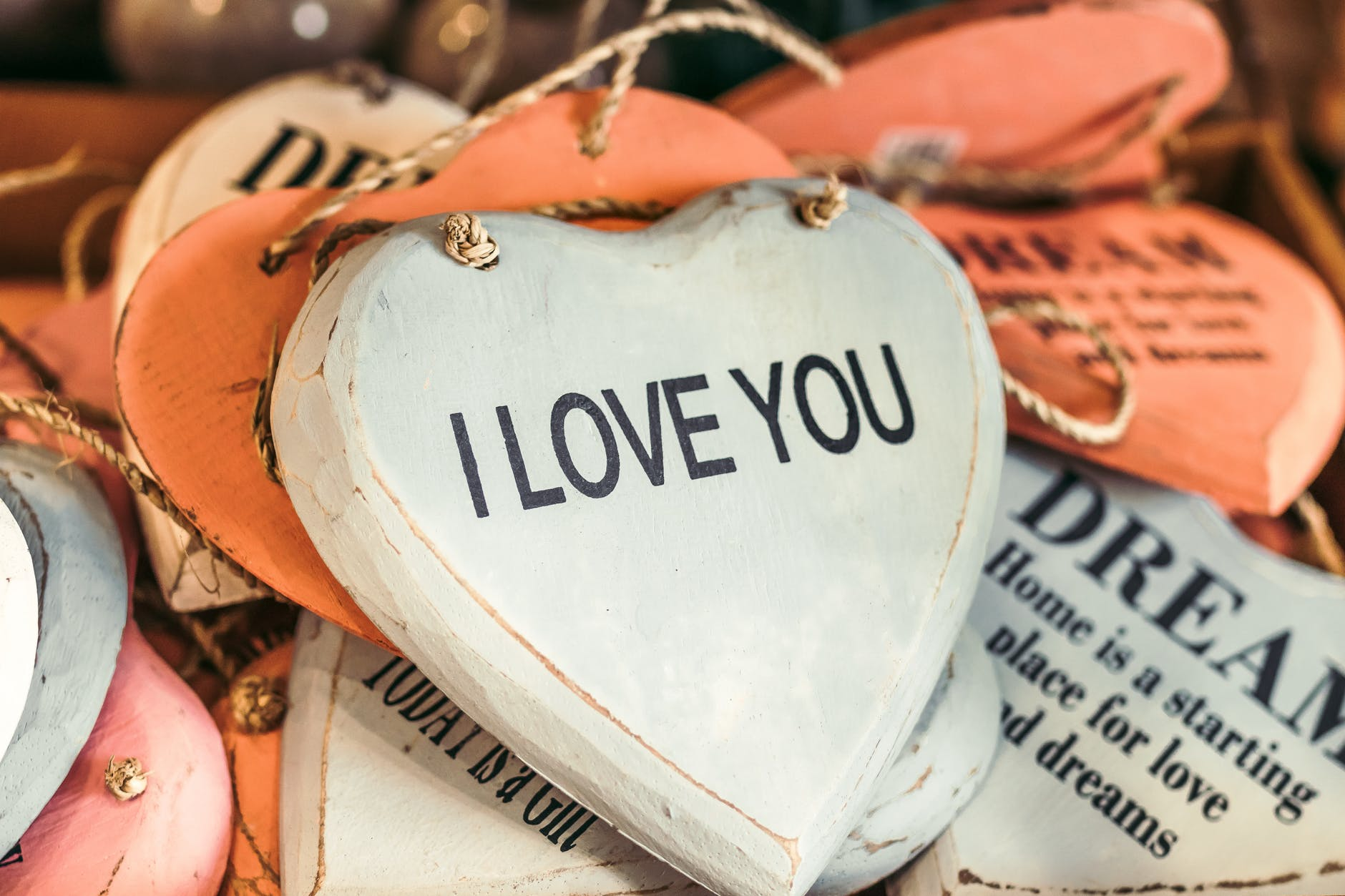 Photo of heart shaped text I Love You