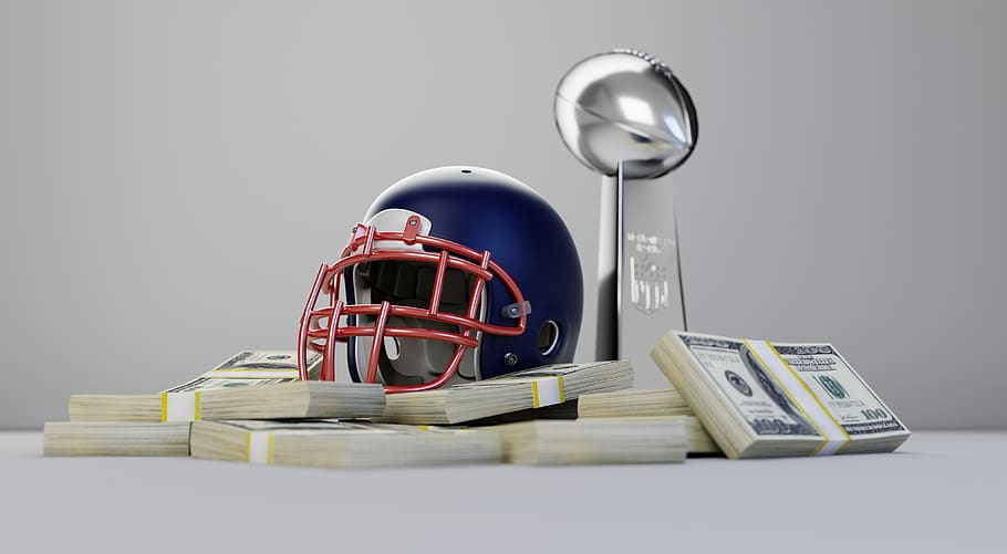 nil, helment, money, trophy, Super Bowl