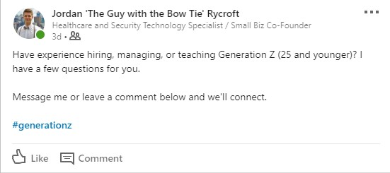 LinkedIn post, Guy With the Bow Tie